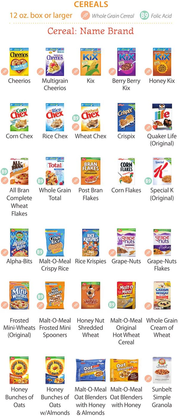 Maine WIC Food List Cereals