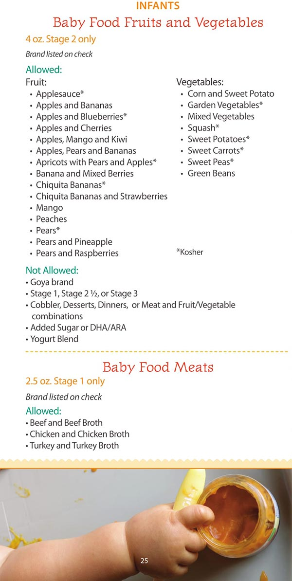 Maine WIC Food List Baby Food Meats, Baby Food Fruits and Vegetables