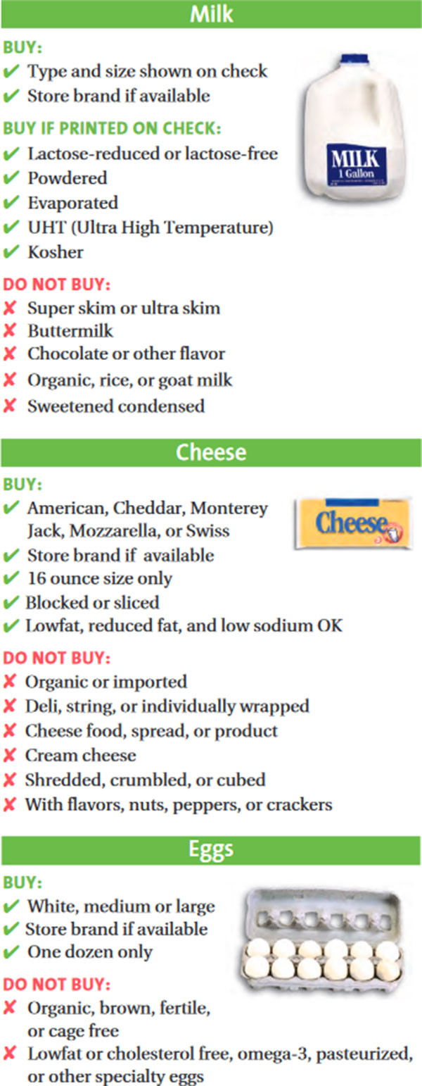 Maryland WIC Food List Milk, Cheese and Eggs