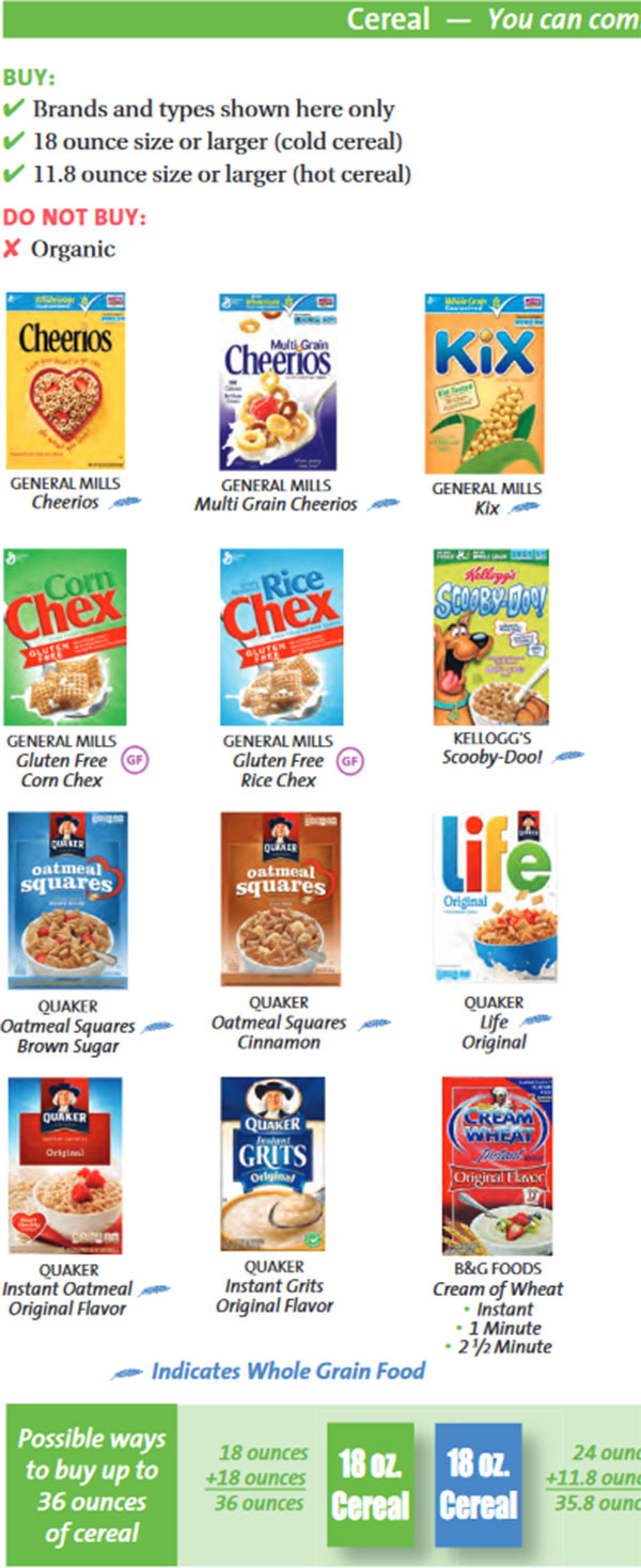 Maryland WIC Food List Cereal