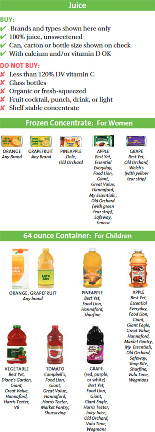 Maryland WIC Food List Juice, Frozen Concentrated For Women and 64oz Container For Children