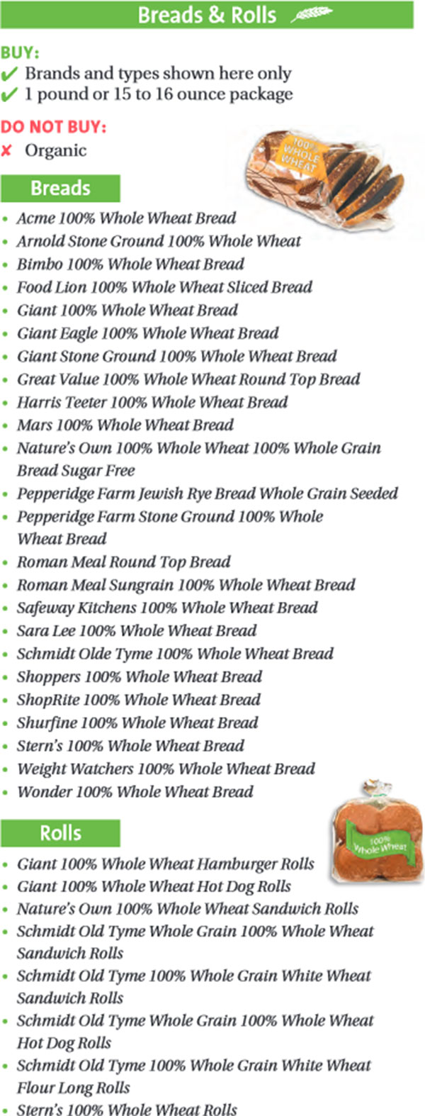 Maryland WIC Food List Breads and Rolls