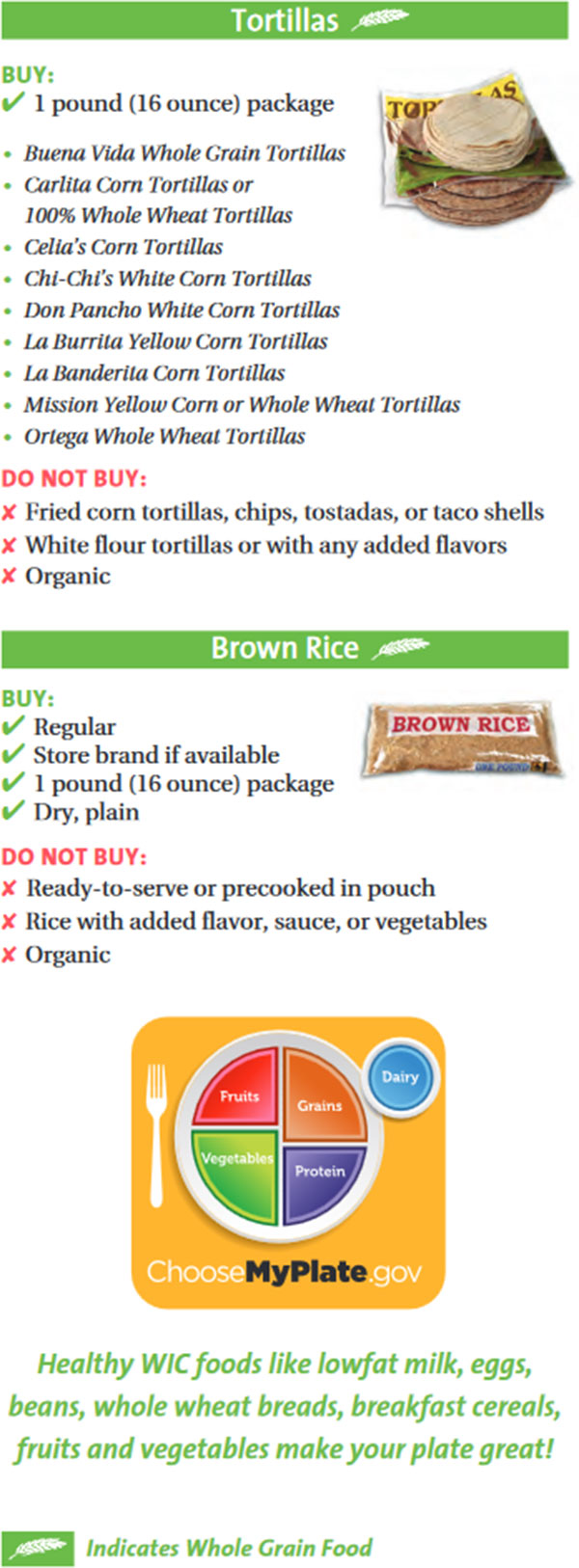 Maryland WIC Food List Tortillas and Brown Rice