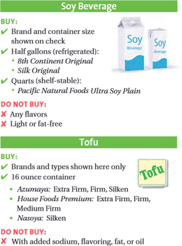 Maryland WIC Food List Soy Beverage and Tofu