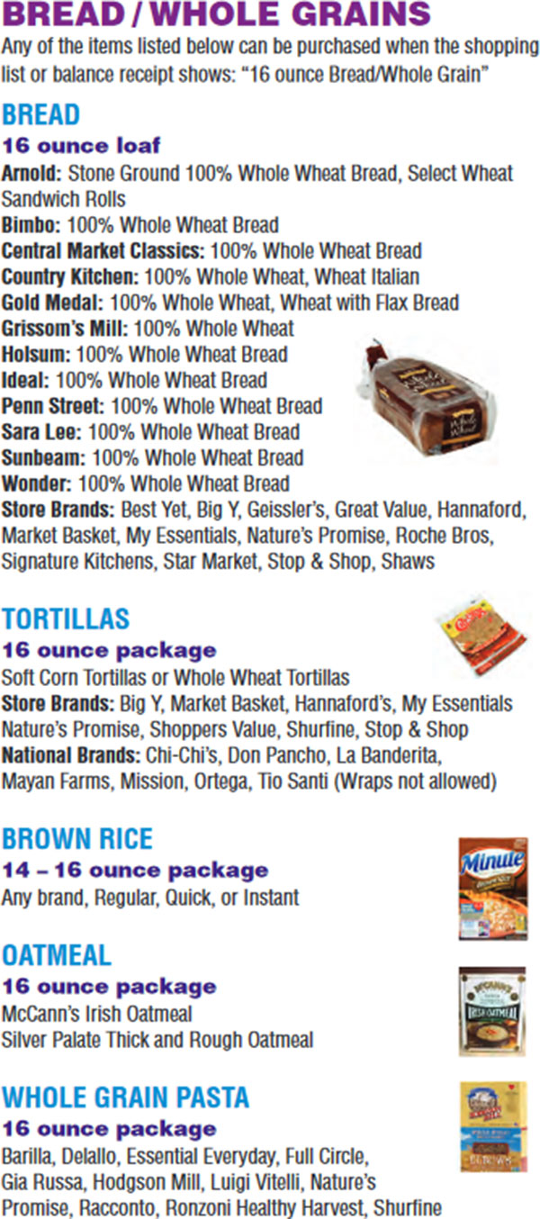 Massachusetts WIC Food List Bread, Whole Grains, Tortillas, Brown Rice, Oatmeal and Whole Grain Pasta