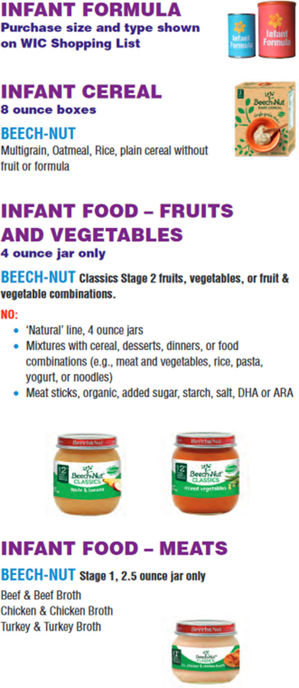 Massachusetts WIC Food List Infant Formula, Infant Cereal, Infant Meats, Infant Fruit and Vegetables