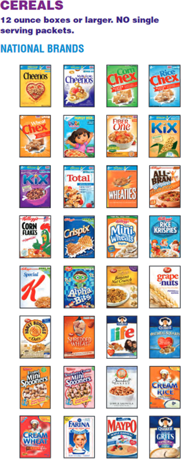 Massachusetts WIC Food List National Brand Cereals