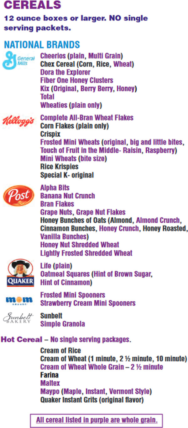 Massachusetts WIC Food List Cereals