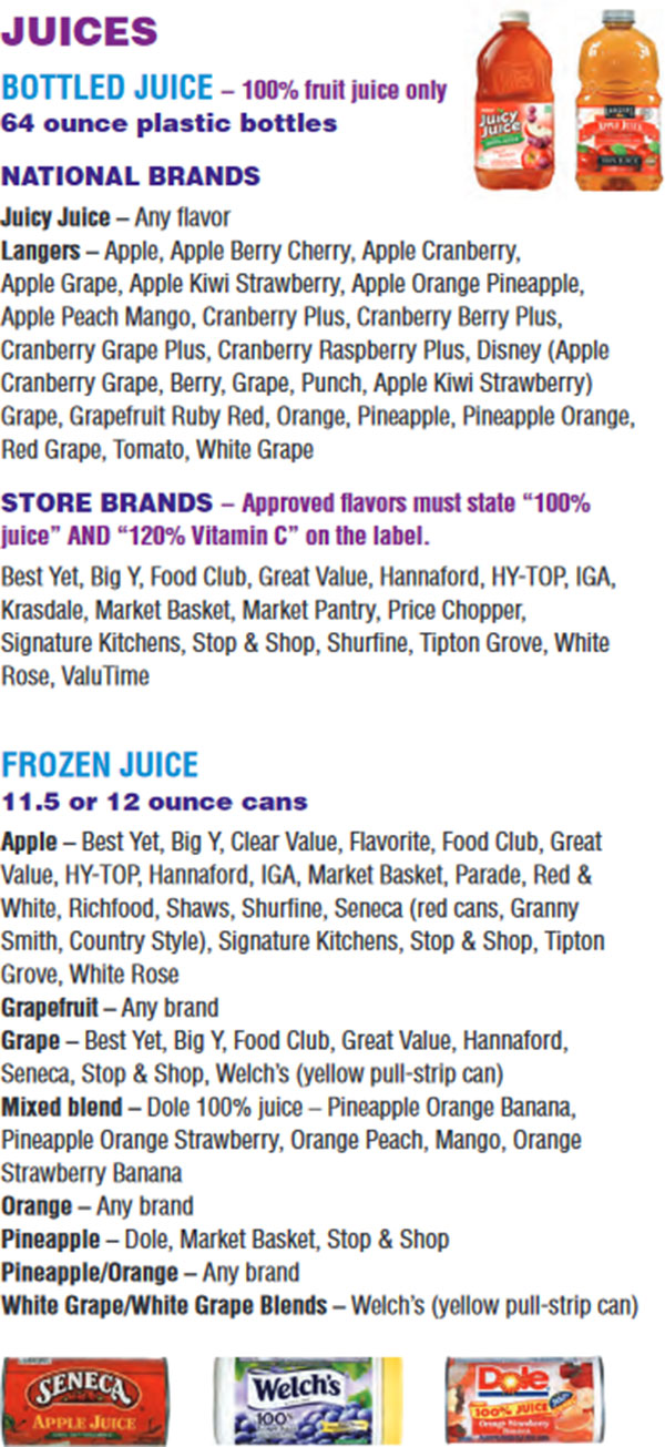 Massachusetts WIC Food List Juices, Bottle Juice and Frozen Juice