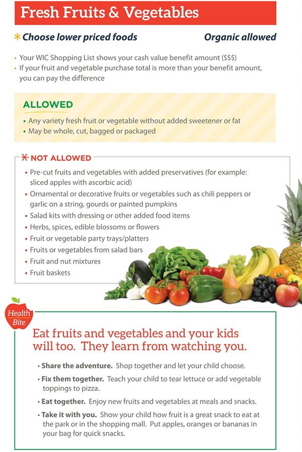 Michigan WIC Food List Fresh Fruits and Vegetables
