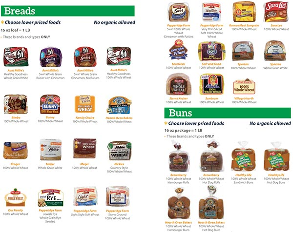 Michigan WIC Food List Breads and Buns