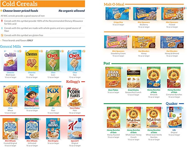 Michigan WIC Food List Cold Cereals