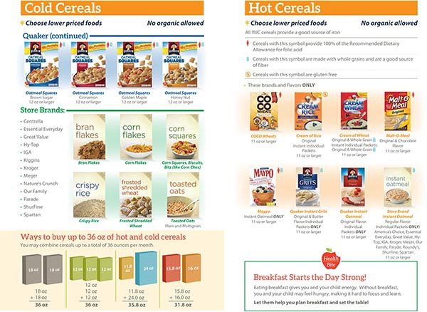 Michigan WIC Food List Hot Cereals and Cold Cereals