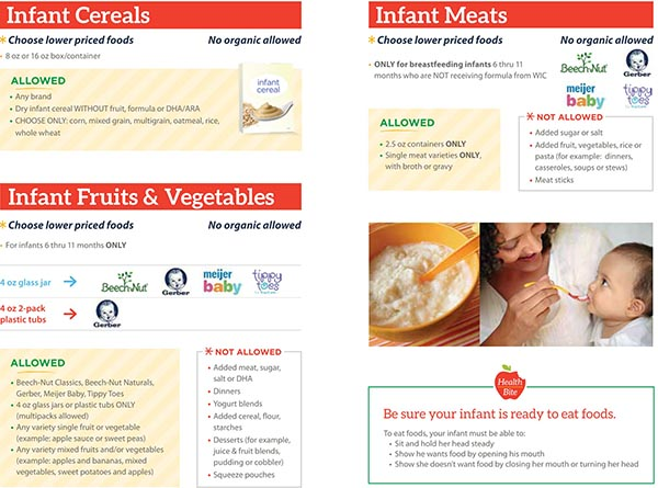 Michigan WIC Food List Infant Cereals, Infant Meals, Infant Fruits and Vegetables