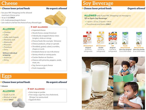 Michigan WIC Food List Cheese, Eggs and Soy Beverage