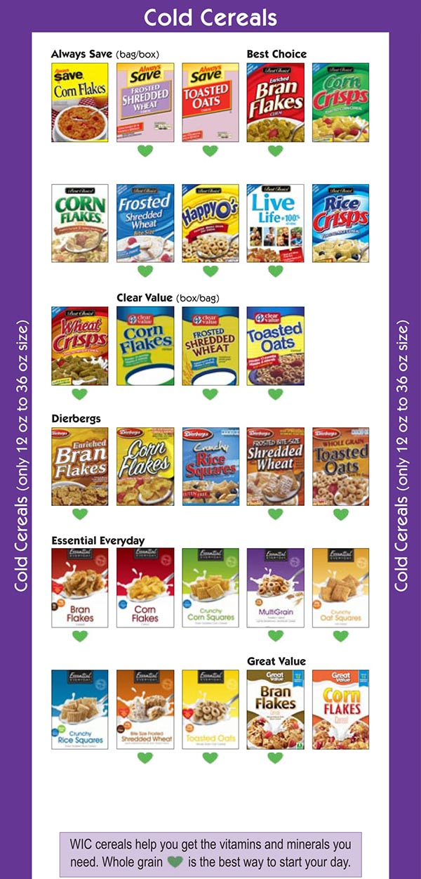 Missouri WIC Food List Cold Cereals