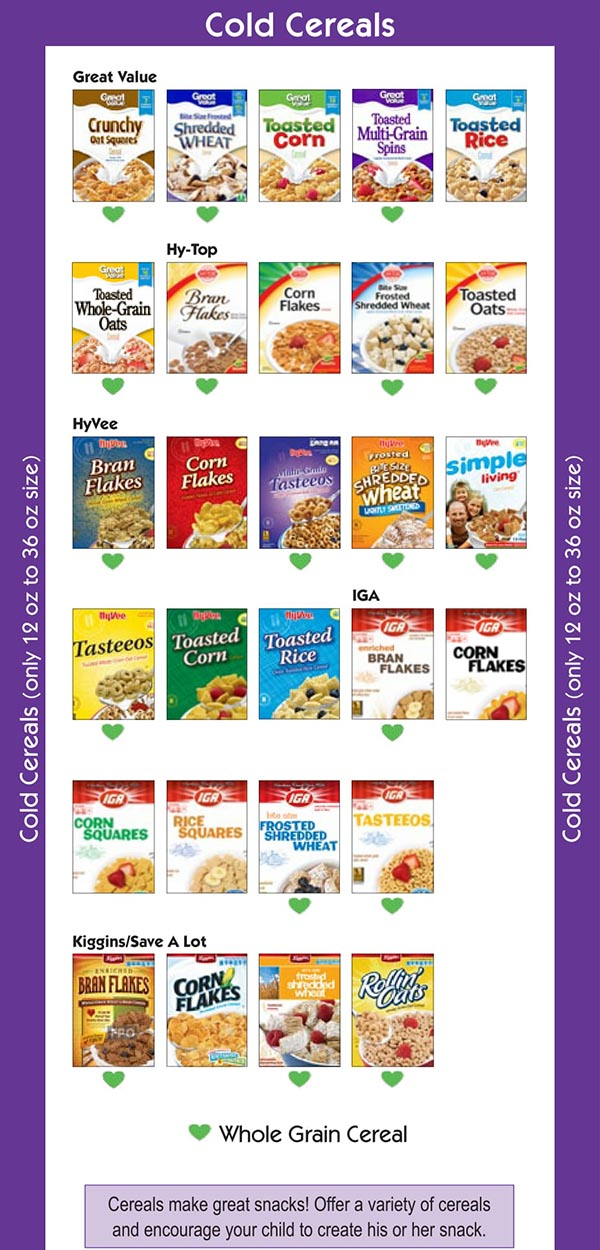 Missouri WIC Food List Cold Cereal Brands