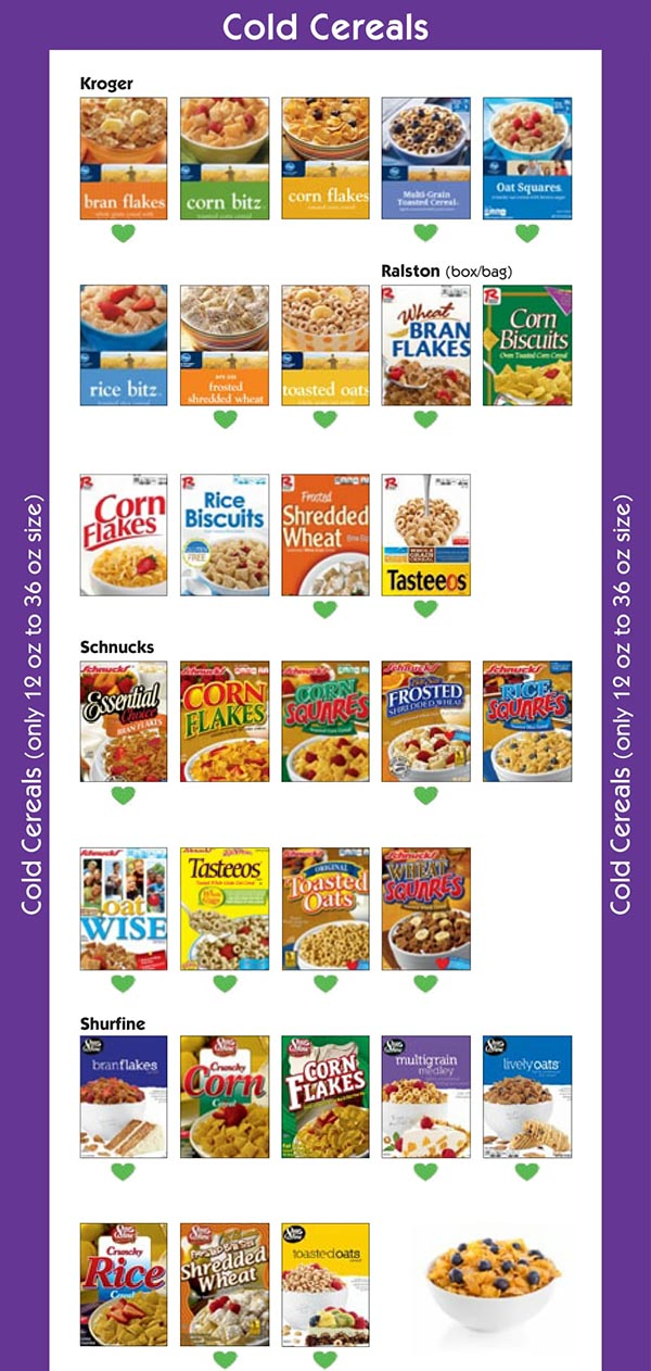 Missouri WIC Food List Cold Cereal National Brands