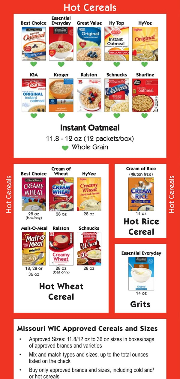 Missouri WIC Food List Hot Cereals and Oatmeal