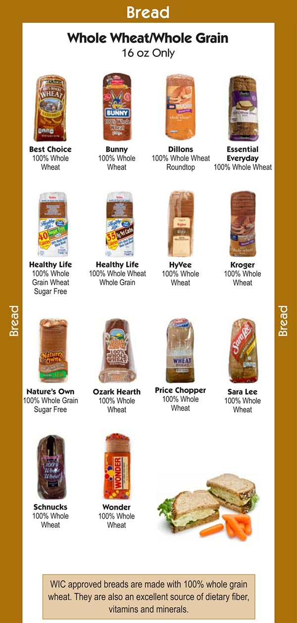 Missouri WIC Food List Bread, Whole Wheat and Whole Grains