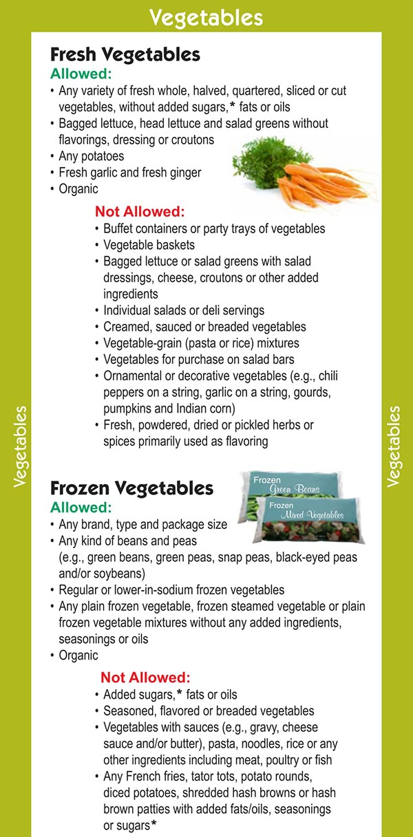 Missouri WIC Food List Fresh Vegetables and Frozen Vegetables