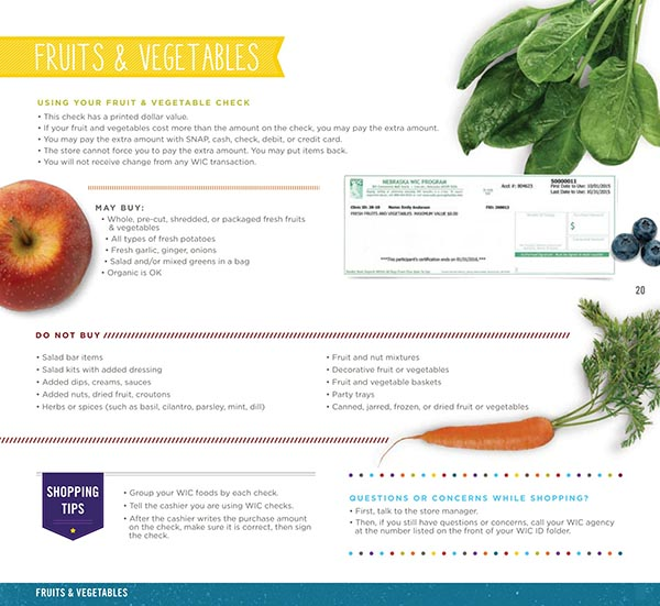 Nebraska WIC Food List Fruits and Vegetables