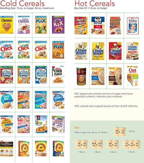 Nevada WIC Food List Coled Cereals and Hot Cereals