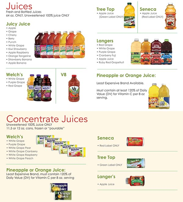 Nevada WIC Food List Juice and Concentrated Juice