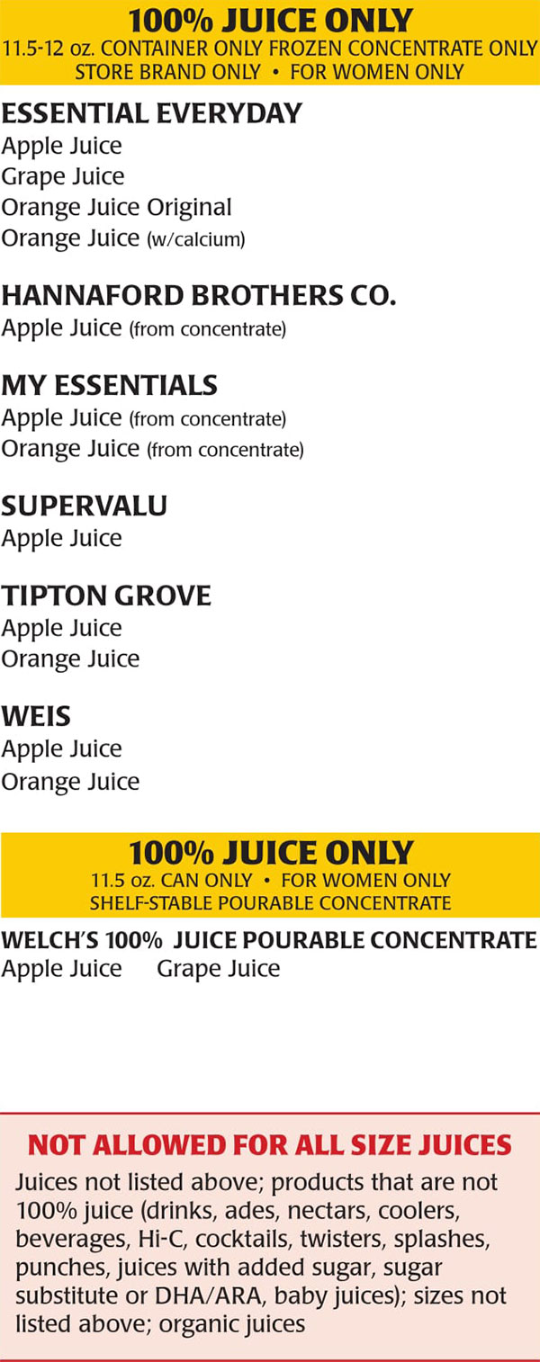New Jersey WIC Food List Women Only Juices