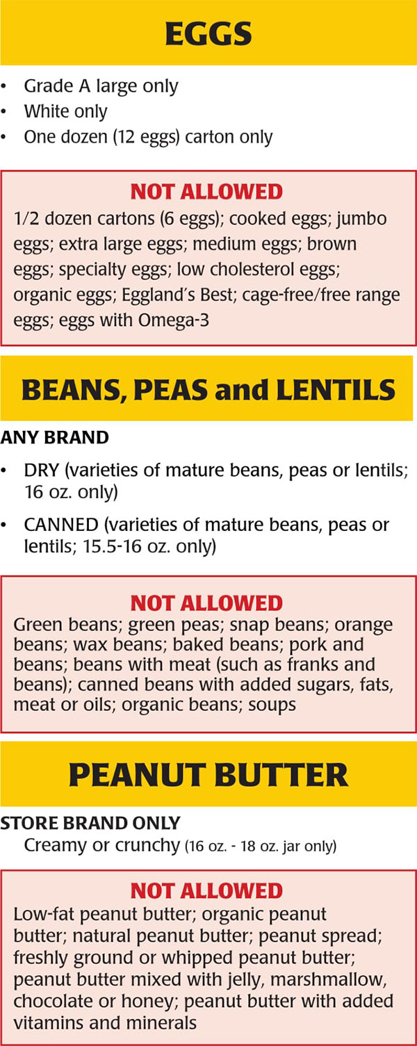 New Jersey WIC Food List Eggs, Beans, Peas, Lentils and Peanut Butter
