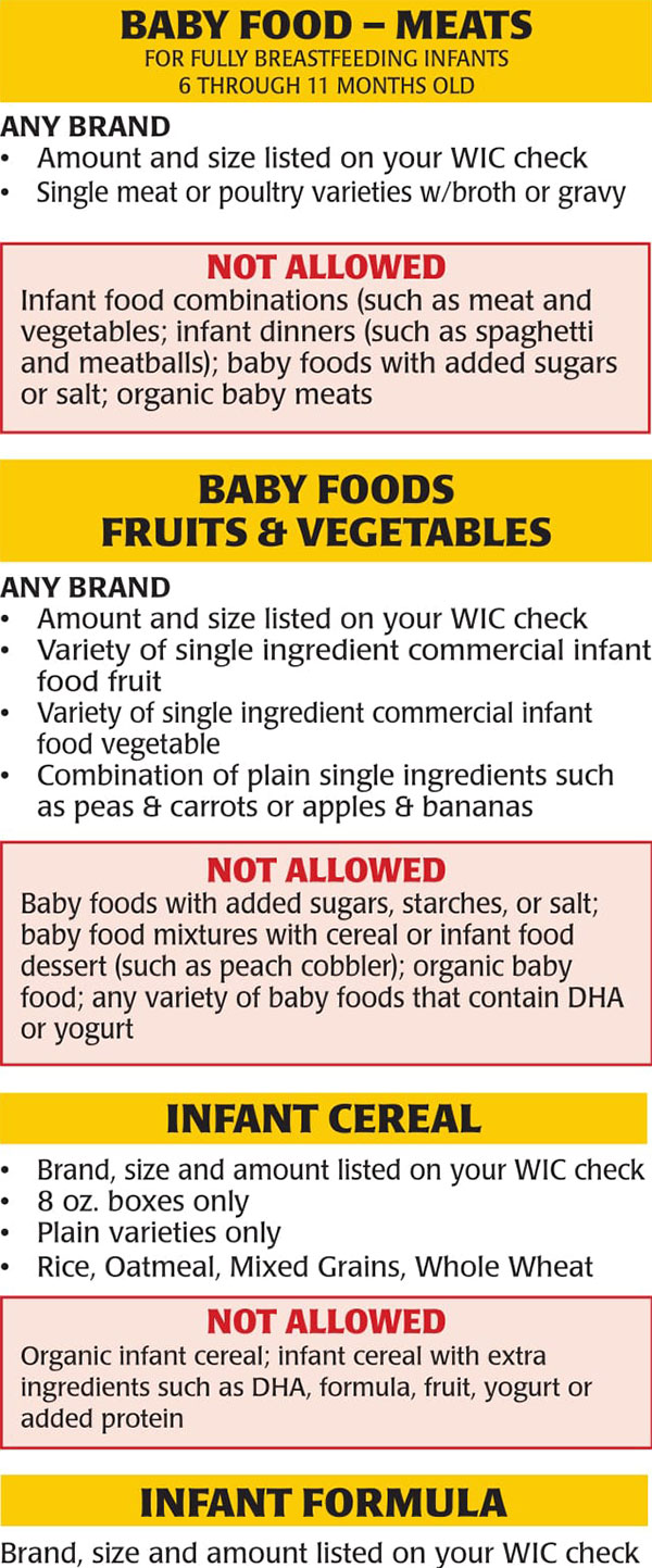 New Jersey WIC Food List Baby Foods Meats, Infant Cereal, Infant Formula, Baby Foods Fruits and Vegetables
