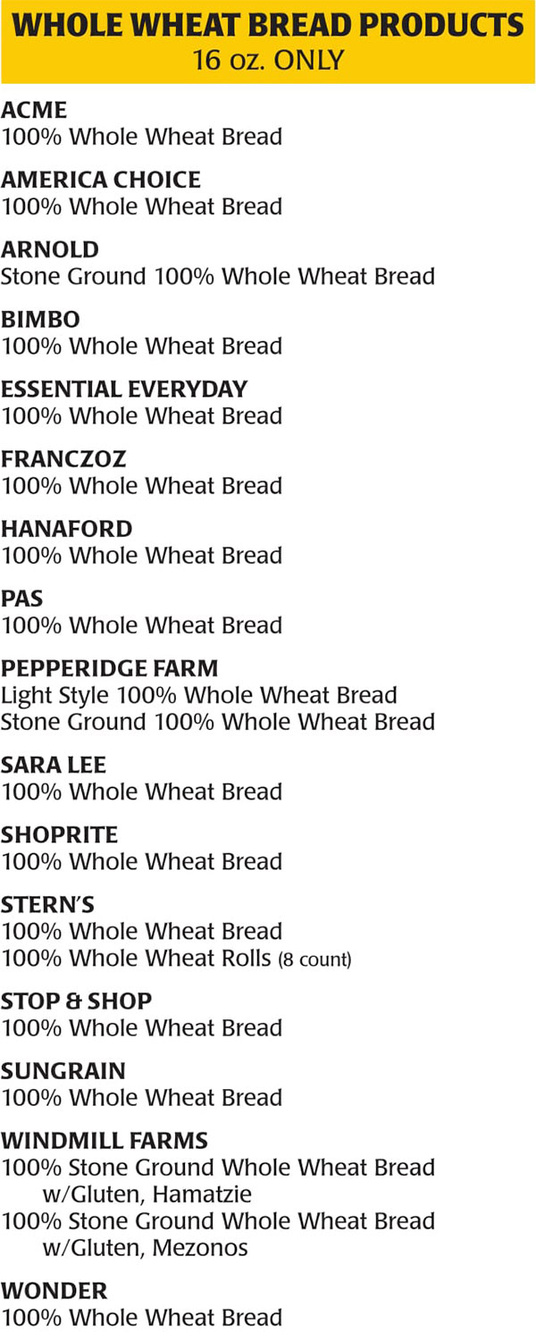 New Jersey WIC Food List Whole Wheat Bread Products
