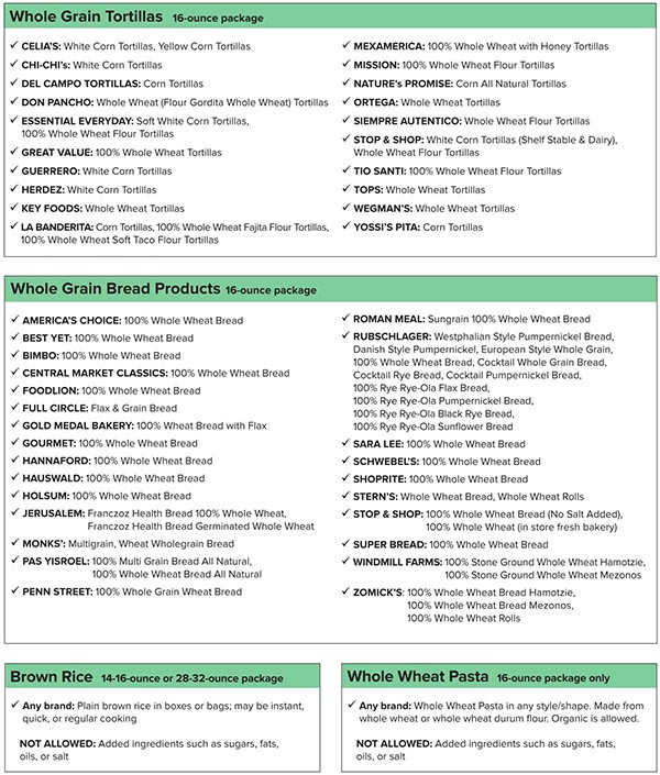 New York WIC Food List Whole Grain Tortillas, Whole Grain Bread Products, Brown Rice, Whole Wheat Pasta