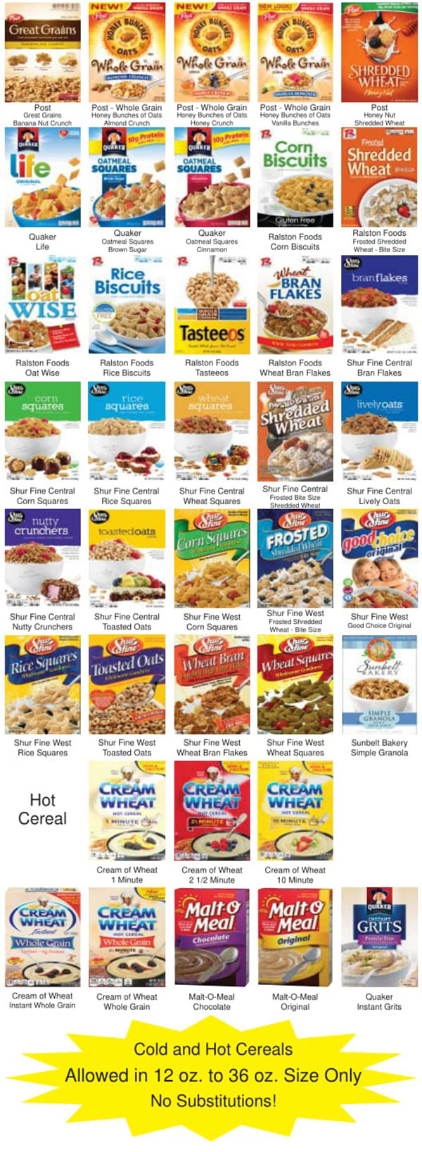 Oklahoma WIC Food List Cereal Product List Page 2