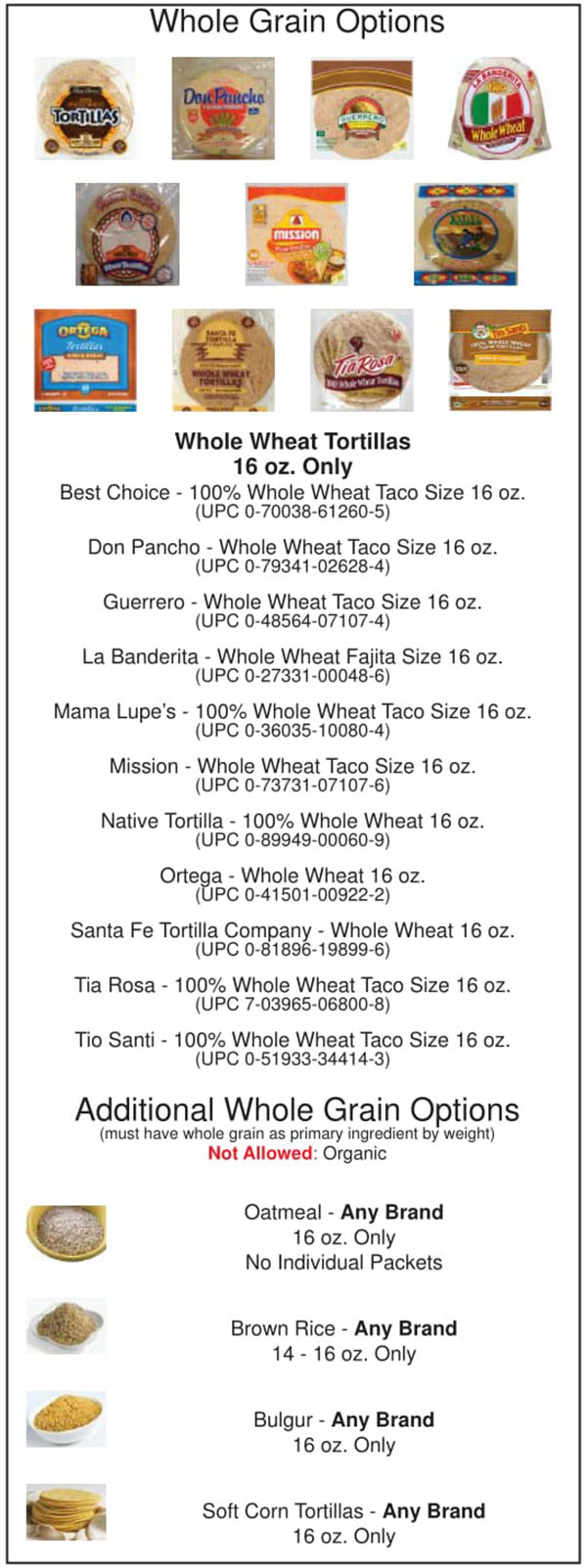 Oklahoma WIC Food List Whole Grain Options and Whole Wheat Tortillas