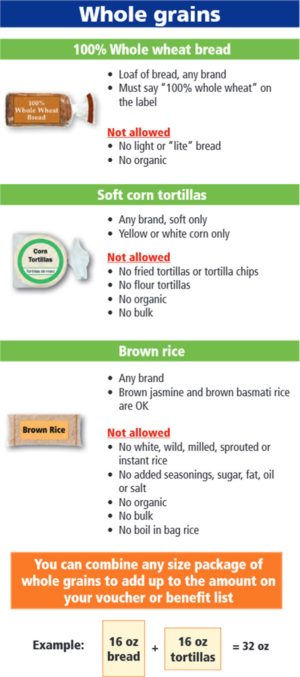 Oregon WIC Food List Whole Grains, Whole Wheat Bread, Soft Corn Tortillas and Brown Rice