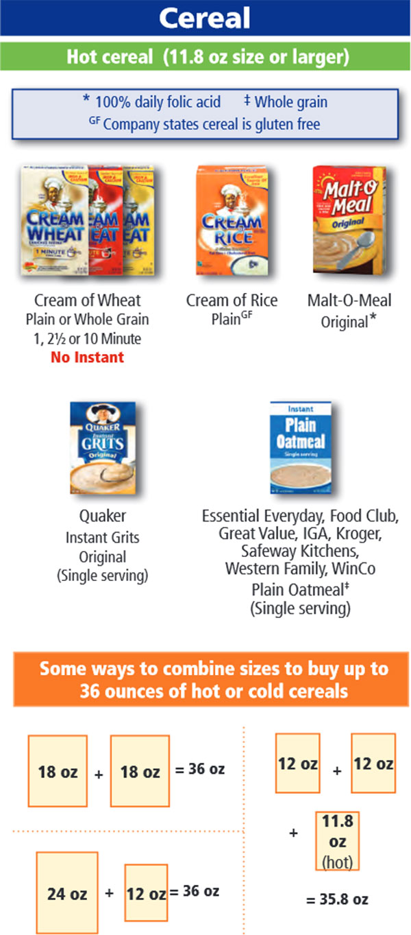 Oregon WIC Food List Cereal and Hot Cereal