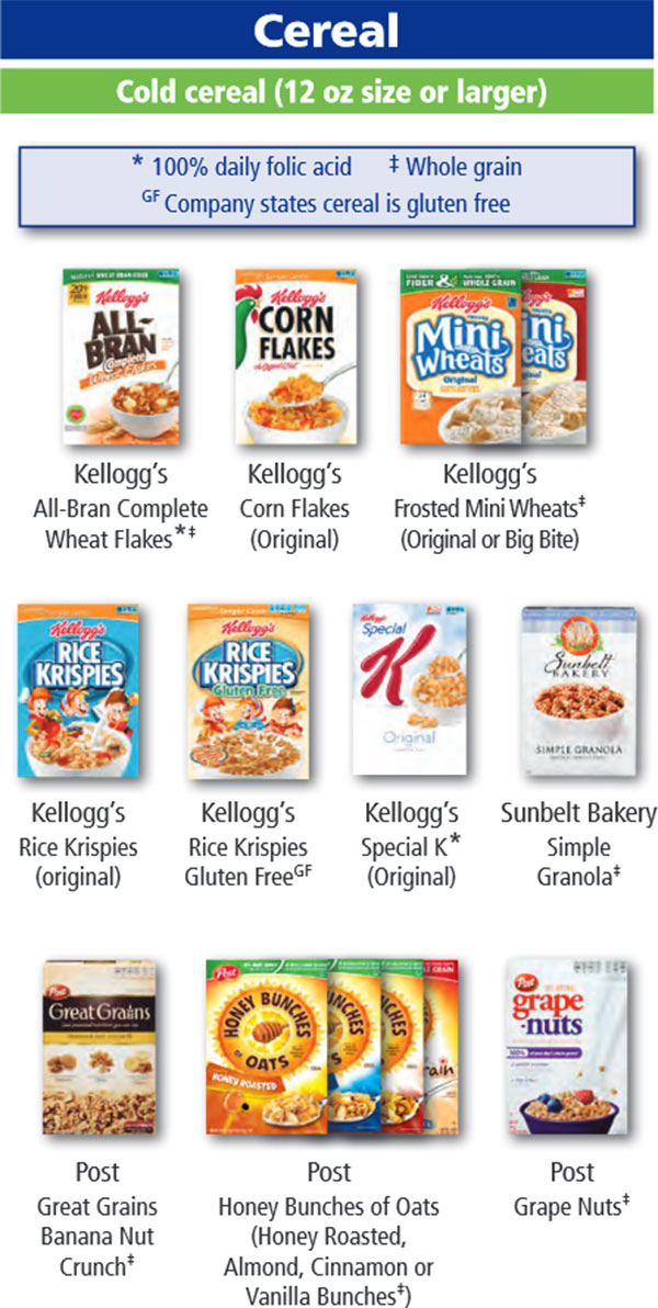 Oregon WIC Food List Cereal and Cold Cereal