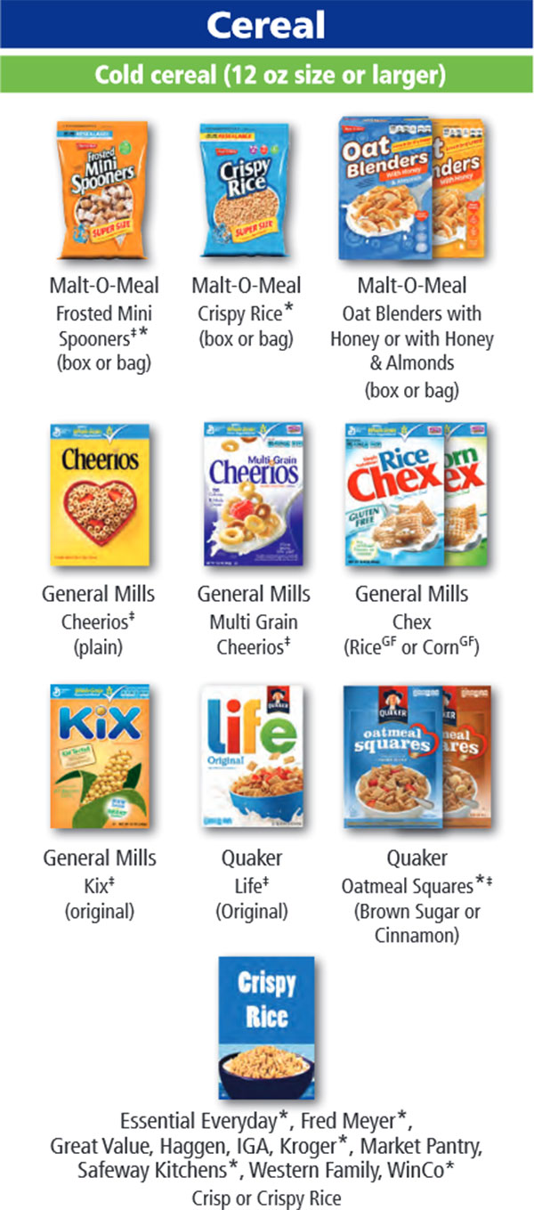 Oregon WIC Food List Cereal and Cold Cereal 12oz or Bigger