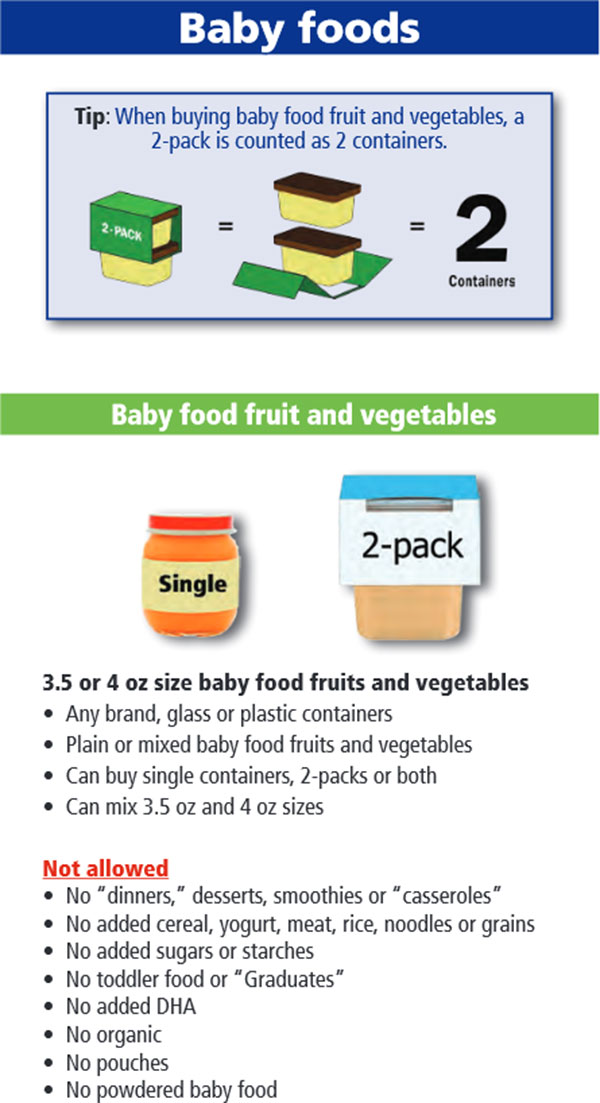 Oregon WIC Food List Baby Food Fruits and Vegetables