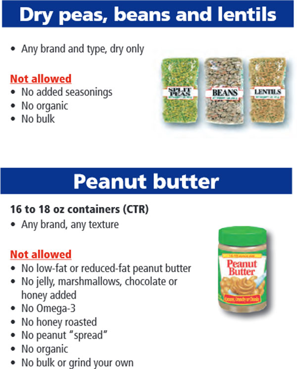 Oregon WIC Food List Dry Peas, Beans, Lentils and Peanut Butter