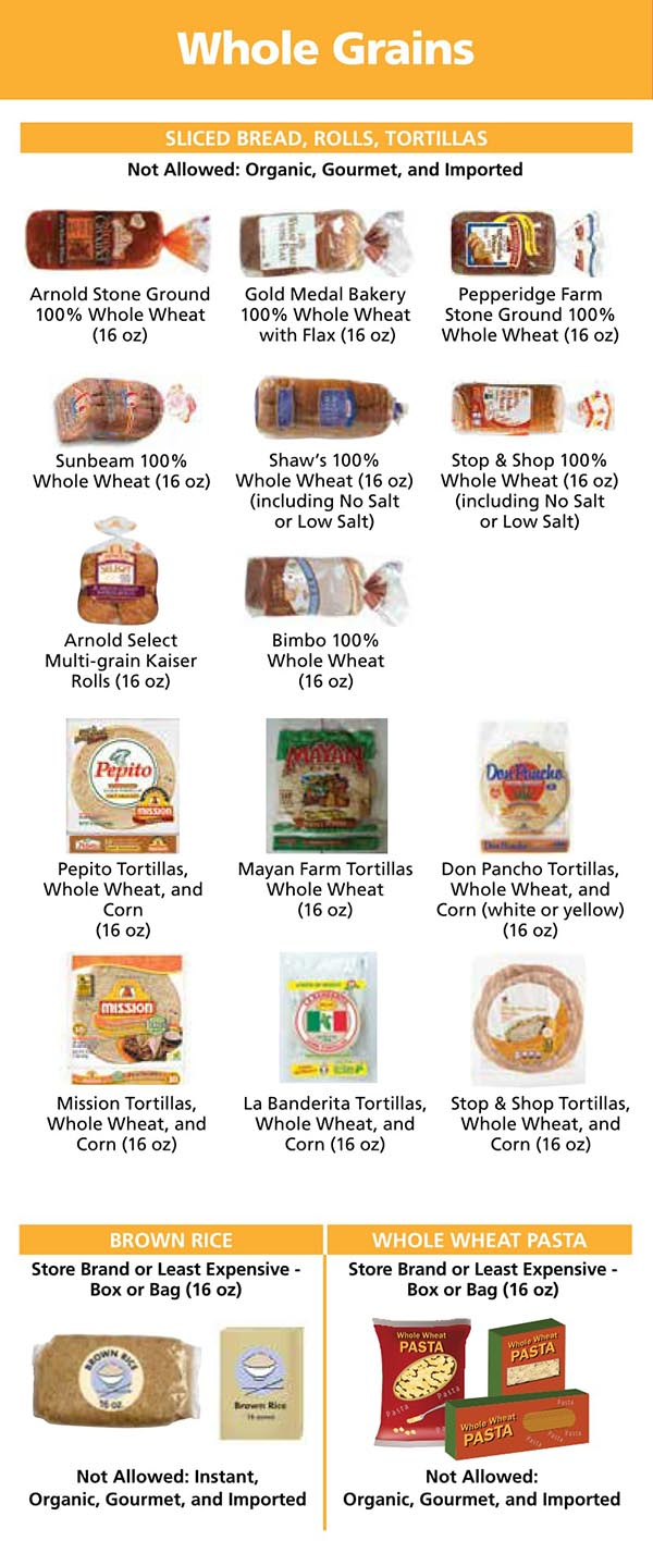 Rhode Island WIC Food List Whole Grains, Sliced Bread, Brown Rice, Whole Wheat Pasta, Rolls and Tortillas