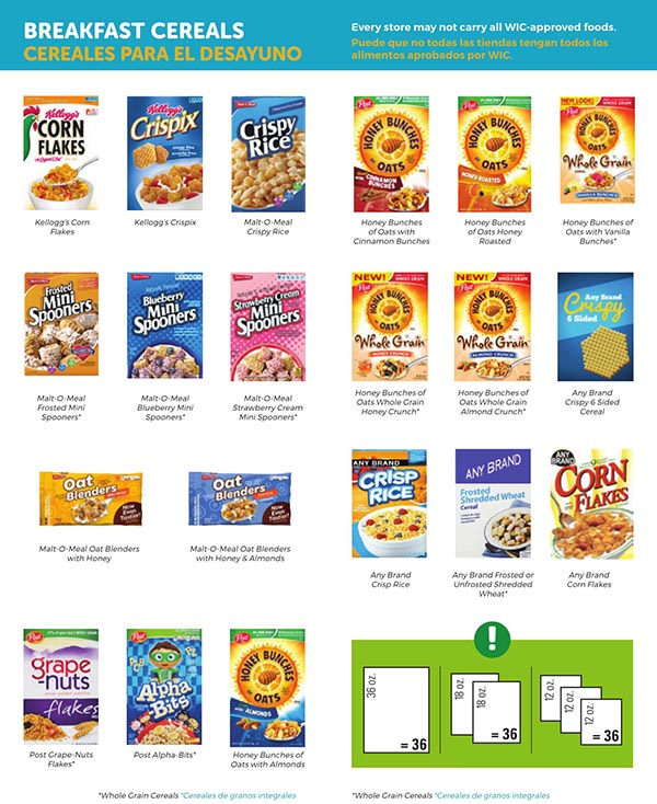 South Carolina WIC Food List Breakfast Cereals