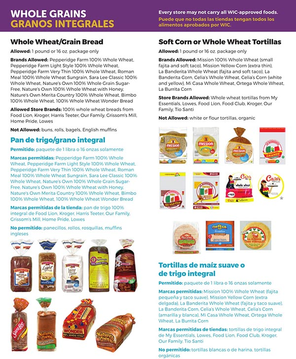South Carolina WIC Food List Whole Grains, Whole Wheat, Grain Bread, Soft Corn Tortillas and Wheat Tortillas