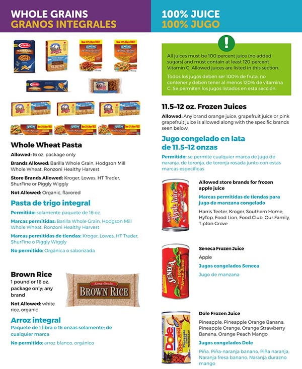 South Carolina WIC Food List Whole Grains, Whole Wheat Pasta, Brown Rice, Juice and Frozen Juice