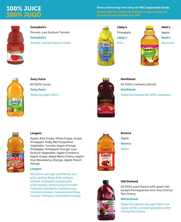 South Carolina WIC Food List Bottled Juice Products