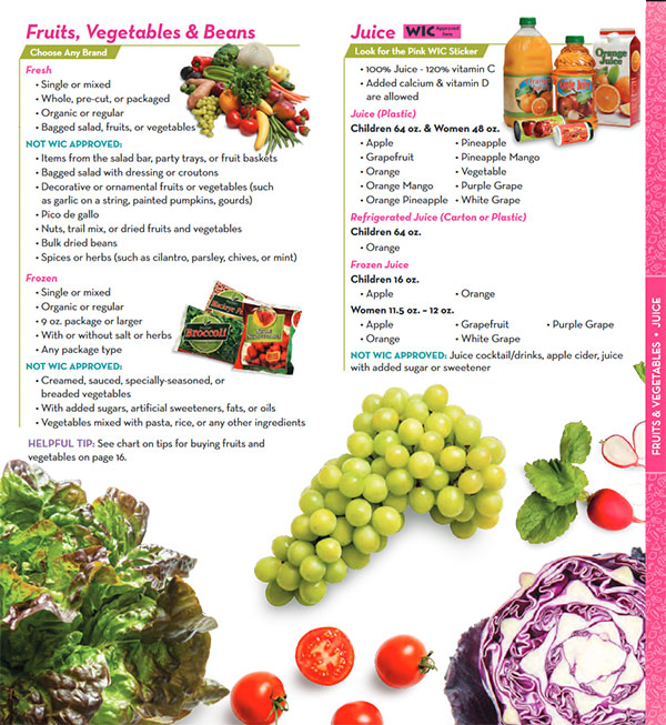 Texas WIC Food List Juice, Fruits, Vegetables and Beans