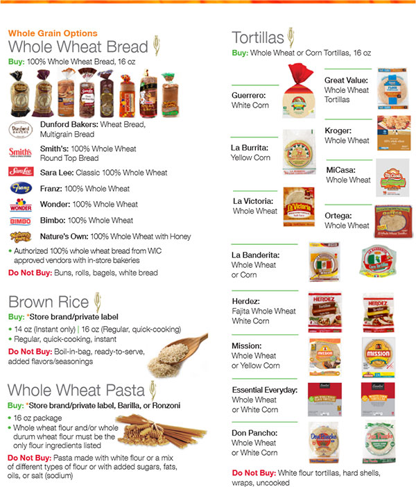 Utah WIC Food List Whole Wheat Bread, Brown Rice, Whole Wheat Pasta and Tortillas