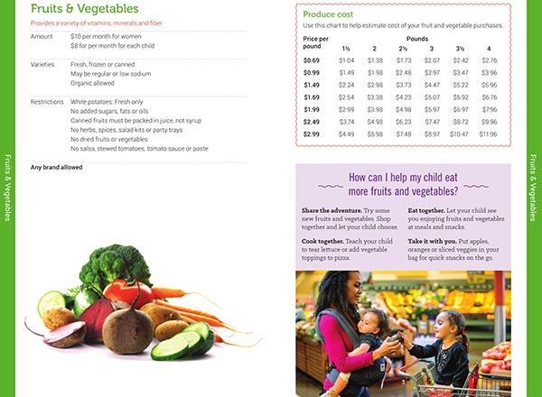 Vermont WIC Food List Fruits and Vegetables