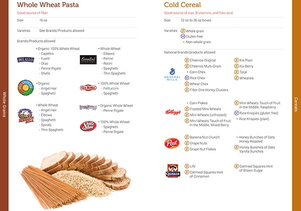 Vermont WIC Food List Whole Wheat Pasta and Cold Cereal